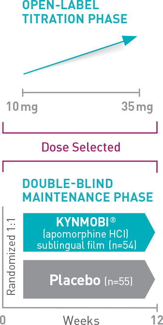 The KYNMOBI clinical trial included a titration phase and a 12‐week, double‐blind maintenance phase. Patients were titrated to the dose that achieved a full ON response within 45 minutes. Then, patients were randomized 1:1 to either KYNMOBI at the tolerated dose that achieved full ON during the titration phase or matching placebo.